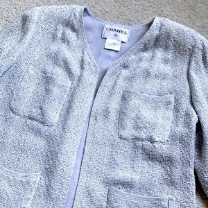 CHANEL 99P open front jacket w/patch pockets